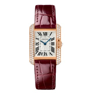 Cartier Watches - Tank Anglaise Pink Gold With Diamonds - Alligator Strap