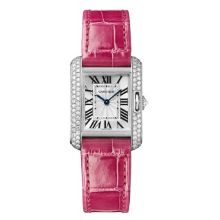 Cartier Watches - Tank Anglaise White Gold With Diamonds - Alligator Strap